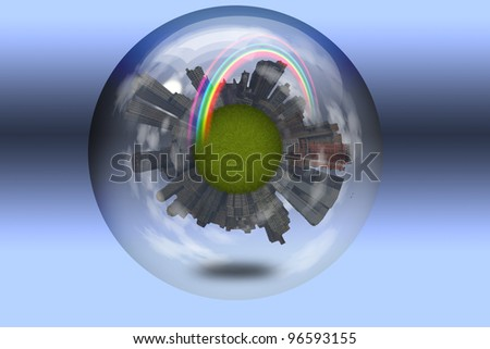 Sphere enclosed green city planet - stock photo