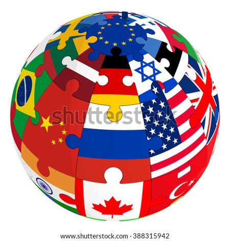 Sphere from a puzzle with images of various country flags. The three-dimensional illustration. Isolated on white surface - stock photo