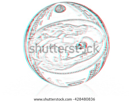 Sphere from  dollar . Pencil drawing. 3D illustration. Anaglyph. View with red/cyan glasses to see in 3D. - stock photo