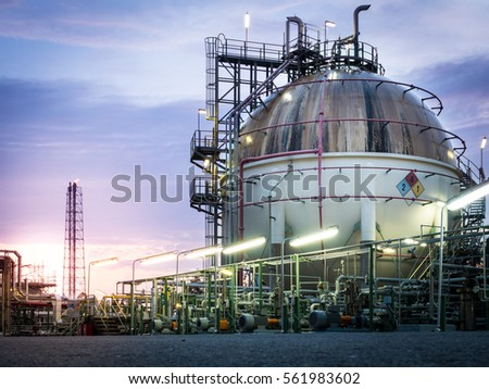 sphere gas storage in petrochemical plant at dawn ,sunrise
