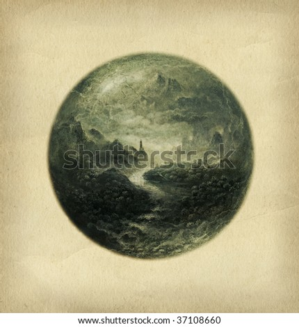 Sphere landscape, painted with acrylic on paper. - stock photo