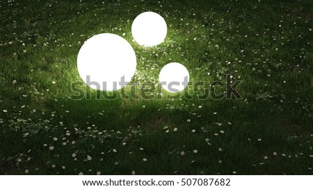 sphere lights in the garden 3d rendering