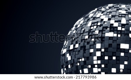 sphere made of reflective and luma cubes - stock photo