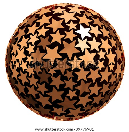 Sphere made of stars isolated on white background, 3d.