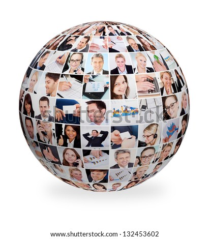 Sphere made out of various business images - stock photo