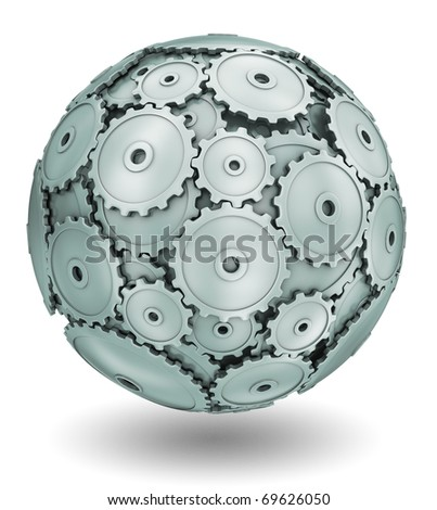 Sphere of gears - stock photo
