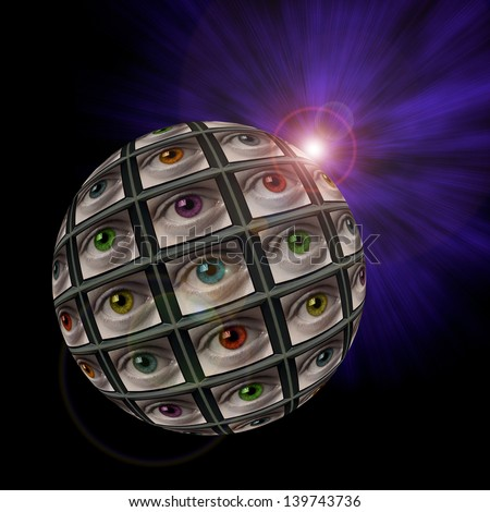 Sphere of video screens showing multi-colored eyes with an exploding light in background with lens flare - stock photo