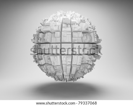 Sphere with abstract geometric shapes - stock photo