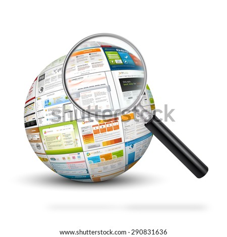 Sphere with web design template imprints and magnifying glass. Search engine, SEO and Design Templates for your web design marketing. - stock photo