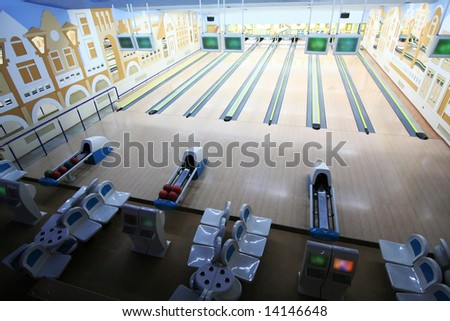 Spheres in a modern premise for game in bowling