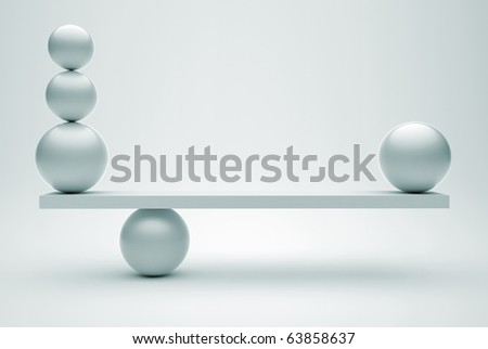 Spheres in balance- this is a 3d render illustration