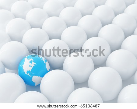 Spheres of dairy color and blue globe as a background