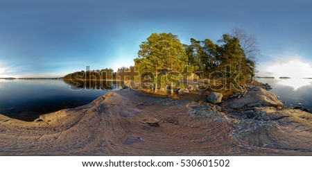 Spherical, 360 degrees panorama. Karhusaari (bear island). View from the rocks on the shore of the Baltic Sea.  Espoo, Finland