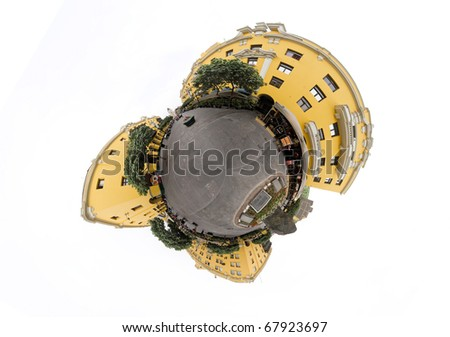spherical panorama of Lima squares. - stock photo