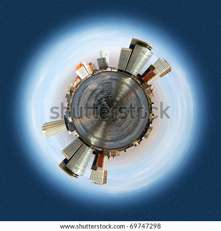 Spherical planet with a corporate and office theme, evolving around a big sea, with tall office buildings and smaller warehouses lining the horizon - stock photo
