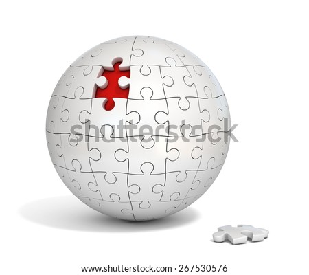 spherical puzzle with missing piece - stock photo