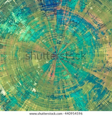 Spherical vintage mottled frame, textured grunge background with different color patterns: yellow (beige); brown; green; blue; cyan - stock photo