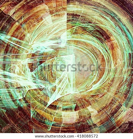 Spherical vintage old retro background with ancient style design elements and different color patterns: yellow (beige); brown; green; blue; red (orange); white - stock photo