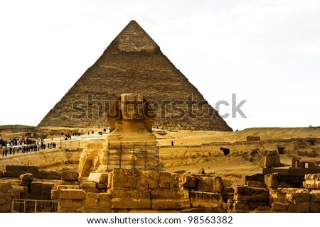 Sphinx and Khufu pyramid  in Egypt - stock photo