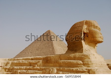 sphinx and pyramid of giza in egypte - stock photo