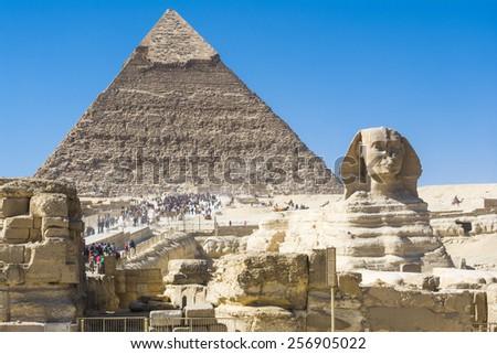 Sphinx and Pyramid of Khafre, Giza (Egypt) - stock photo
