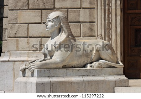 Sphinx statue at Opera House in Budapest, Hungary - stock photo