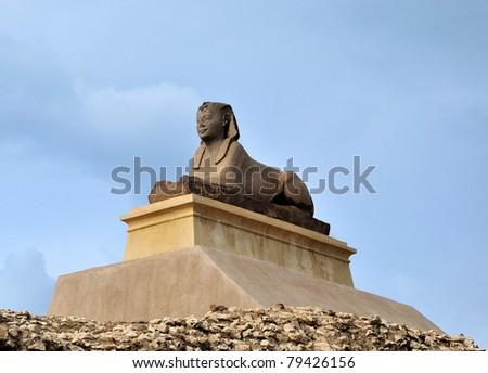 sphinx statue on the hill, Alexandria, Egypt - stock photo