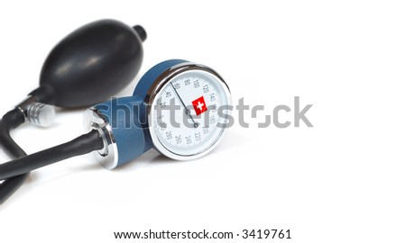 sphygmomanometer - blood pressure measure with first aid symbol