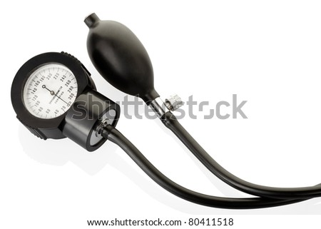 Sphygmomanometer, blood pressure medical instrument isolated on white, clipping path included - stock photo