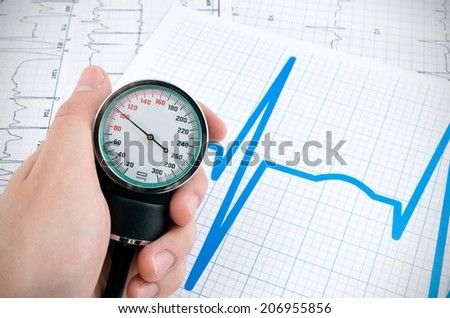 Sphygmomanometer for measure blood pressure on medical background - stock photo