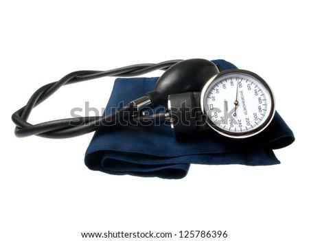 Sphygmomanometer isolated on white - stock photo