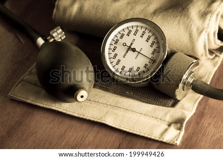 Sphygmomanometer,medical tool and equipment in vintage color.  - stock photo
