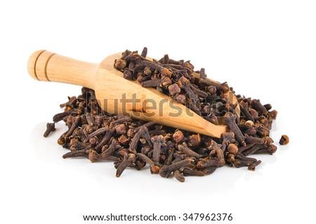 Spice cloves on white background - stock photo
