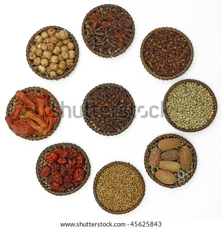 spice collection on white background (large format photo)