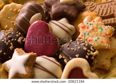 spice cookies as christmas background - stock photo