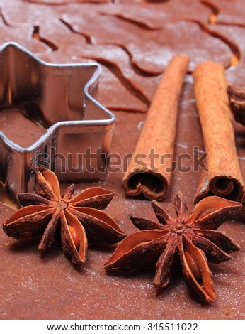 Spice for baking, anise cinnamon sticks, cookie cutters on dough for gingerbread, concept of baking and christmas time - stock photo