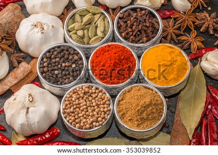 Spice group photo for curry