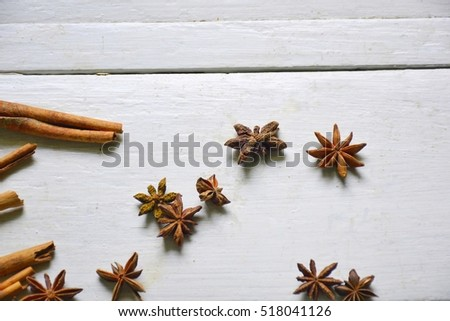 Spice herb on wooden table.