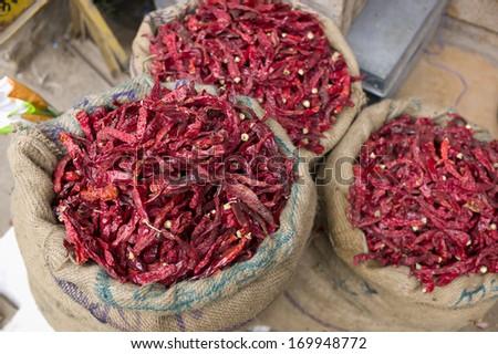 Spice in spice market in Jaislmer, India  - stock photo