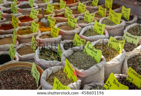 Spice market, colorful spices in bags, France - stock photo