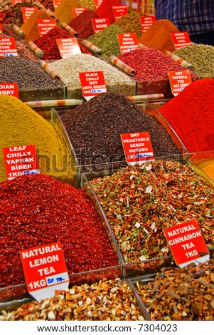 Spice Market Stalls with variety of Spice - stock photo