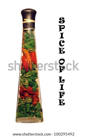 Spice of life in a bottle chili and oil - stock photo