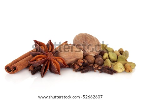 Spice selection of cinnamon, cloves, star anise, nutmeg, allspice and cardamom, pods  isolated over white background. - stock photo