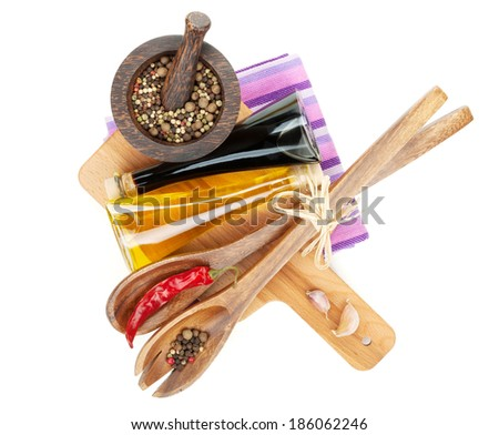 Spices and condiments. Isolated on white background - stock photo