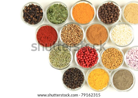 Spices and herbs in small glass bowls. Food and cuisine additives. - stock photo