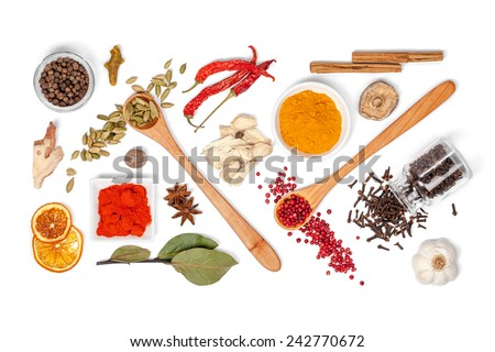 spices and herbs on white background. top view