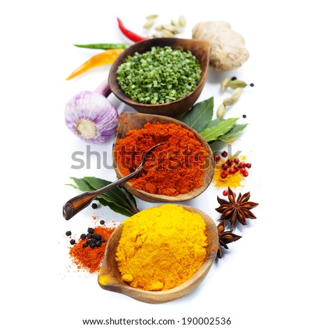 Spices and herbs over White. Food and cuisine ingredients. - stock photo