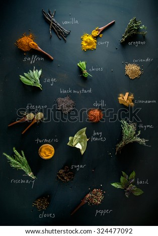 Spices and herbs. Variety of spices and mediterranean herbs. Spices with names