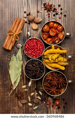 Spices and spicy, top view
