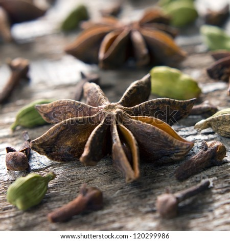Spices. Anise stars, cloves, cardamom - stock photo